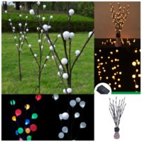 Garden Decorations Three pack Solar lawn light simulation Ball branch lights flower LED ground plug lamp