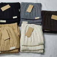 Masculino designer de malha lenços chapéus conjuntos de moda beanie chapéu lenço mulheres marca lenços ao ar livre inverno ski máscara de capim