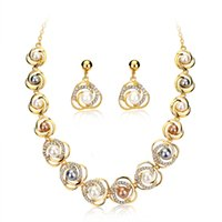 Jewelry Sets of Bohemian Fashion Necklaces Earrings Saturn Ring Alloy Pearl Crystal Necklace for Women Gift