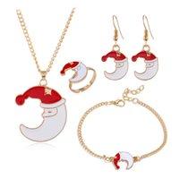 Christmas Series Santa Claus Elk Bell Festive Party Decorations Earrings Necklace Bracelet Multi-Piece Set gift