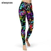 Sissycos 2021 Women Splash Tie Dye Printed Leggings Spring Ink Dots Pattern Stretch Push Up Pants High Waist Ultra Soft Trousers Women's