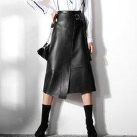 Skirts Women Autumn Winter Black High Waist PU Skirt Female Fashion Belt Slim Leather Solid A-line Office Lady Knee-Length
