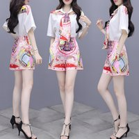 Trend Girl Set Scarf Shirt+pants Short Sleeve Printed Scarf Design Summer Two Piece Set Fashion Trendy Ladies Suits