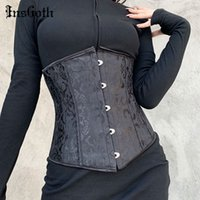 Insgoth Vintage Goth Lace Up Siyah Korse Zarif Estetik Vücut Şekillendirici Kadın Bandaj Spor Bel Kuşak Modelleme Cummerbund