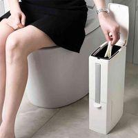 Foheel estreito lixo lixo banheiro pode com toalete escova de lixo sacos de lixo resíduos de lixo plástico lixo lixo 210907