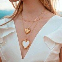 Ожерелье Красный Белый Черный Эмаль Звезда Узор Золотая Монета Для Женщин Женские Сердце Кулон Ожерелья Аксессуары Ювелирных Изделий