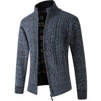 Erkek Kazakları 2021 Sonbahar Kış Zip Up Örme Erkekler Ceket Kalın Sıcak Siyah Haki Yeşil Hırka Erkek Artı Boyutu 3XL Giyim