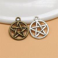 100pcs pentagram Alloy Charms Pendant Retro Jewelry Making DIY Keychain Ancient Silver   Bronze Pendant For Bracelet Earrings 20x16mm 188 R2