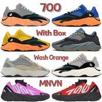 Kutu 700 MNVN Yıkama Turuncu Erkek Koşu Ayakkabıları Krem Parlak Mavi Güneş Atalet OG Katı Gri Vanta Sarı Kırmızı Pembe Erkek Kadın Tasarımcı Sneakers