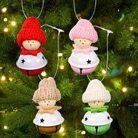 Christmas Doll with Jingle Bells Pendant Decoration Xmas Tree Hanging Ornaments Holiday Party Decor EWE9591