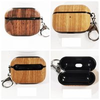 Wood Wooden Earphone Accessories Cases For Airpod Air Pods Pro 3gen Airpods 1 2 Ear Hard Plastic Case Carbon Fiber High Quality Protector Cover Carabiner Keychain