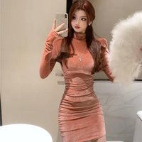 Casual Dresses Lucyever Velvet Turtleneck Ruched Dress Women Solid Long Sleeve Bodycon Mini Woman Pink Blue Slim Fit Vestidos Female