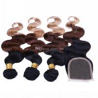 Estensioni brasiliane di capelli umani ombre con chiusura del pizzo di capelli 3 Colore # 1b 4 27 Bundles con chiusura a pizzo 4 pezzi lotto