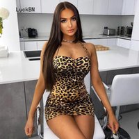 Leopard Print Dress Womens Spaghetti Strap Backless Mini Sundress 2021 Summer Sleeping Hip Slim Dresses For Women Vestidos Casual