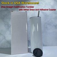 USA Local Warehouse Sublimation 20oz raka skinny tumblers med metall halm lim 3m gummi coasters rostfritt stål dubbel vägg isolerad vakuum diy flaska