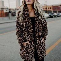 2020 luxus faux pelzmantel für frauen herbst winter warme mode leopard künstliche pelz frauen mäntel casual jacke 6q2347