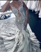 2021 Plus Size Arabic Aso Ebi Luxurious Lace Beaded Wedding Gowns Sheer Neck Tiers Tulle Sexy Vintage Bridal Dresses ZJ336
