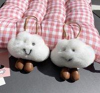 11cm 큰 pompoms 키 체인 귀여운 달콤한 흰 구름 디자이너 핸드백 열쇠 고리 솜털 가짜 가방 토끼 모피 매력 pom pom 키 체인 가방 차