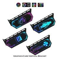 Card GPU Вертикальный стенд Кронштейн, 12 В RGB или 5V A-RGB Мульти-Световая подсветка Графика Поддержка M / B Синхронизация M / B, Бесплатные настройки Вентиляторы Охлаждения