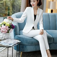 Pieces Set Shawl Collar Straight And Smooth Formal Pant Suit Office Lady Uniform Designs For Women Business Work Wear Women's Suits & Blazer