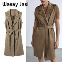 Fashionable Women's Waistcoat With Suede Texture Effect Waist Belt Mid-length Solid Color Plus Velvet Thickening Autumn Vests