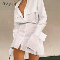FSDA v pescoço de manga comprida camisa vestido bandagem 2020 mulheres brancas sexy mini uma linha escritório outono casual túnica vestidos moda