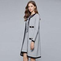 Frauen Herbst und Winter Sleeveless Contrast Single Breasted Dress Two Piece Long Sleeve Cardigan Jacke