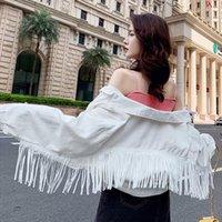 Women's Jackets Women Denim Tassel Short Fashion Tops Female Casual Long Sleeve Button Outwear Coats White Top Jean Jacket Woman Bomber