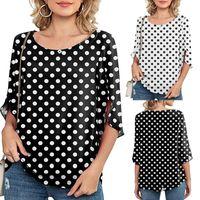 Polka Dot Printe Oversized T-shirt Female Loose Chiffon Top Women Clothing Casual T-shirts Tops 3 4 Sleeve Tshirt Tee Shirt 2021 Women's