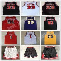 Steins Hombre Sports Shirts Bordado 1 # Derrick Rose Jersey Rojo El gusano 91 # Dennis Rodman Blanco Blanco 33 # Scottie Pippen