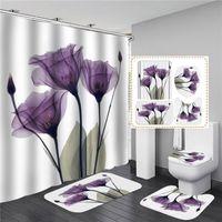 Conjuntos de baño Conjunto de cortina de ducha 4 PCS Cortina de ducha Mat Conjunto de tapete de inodoro 180x180cm Cortina de ducha Cubiertas de asiento de inodoro OOD4661