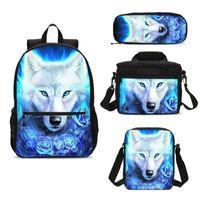 Backpack 4Pcs Set Portfolio School Bag For Boys Girls Floral Animal White Wolf 3D Printing Ice Kids Bookbag Mochila Escolar