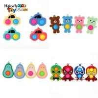 US STOCK Party Favor Rainbow Cartoon Fidget Bubble Toys Key Chain Childrens Car Avocado Pioneer Cartoon Pendants Autism Stress Relief Toy Keyrings