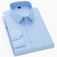Men's Dress Shirts High Quality Mens Shirt Formal Long Sleeve Business Wedding Slim Fit Cotton Office Wearing