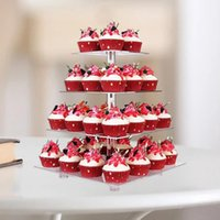 1 세트 케이크 스탠드 재사용 가능한 사각형 과일 캐리어 대용량 쉽게 아크릴 스낵 디스플레이 타워 결혼식 파티 용 탑