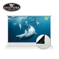 VIVIDSTO 72inch Electric Motorized Floor Rising Projector Screen Tensioned with All White Cinema Curtain Film 4k for Normal Throw Projection Dark Room Indoor