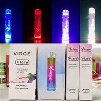 Orijinal Vidge Flare Tek Kullanımlık Pod Kiti E-Sigaralar RGB Işık Cihazı 800 Puffs 500 mAh Pil 3 ml Prefiç Kartuş Vape Pen vs Artı Bar XXL 100% Otantik