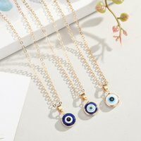 Vintage Ethnic Round Turkey Evil Eye Pendant Necklace For Women Men Blue Eyes Choker Clavicle Chain Statement Necklaces Fashion Jewelry