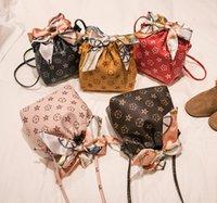 Designer PU Leder Eimer Handtasche Mode Große Kinder Seidetschals Bögen Eine Umhängetasche Frauen Gedruckt Messenger Bags A2047