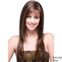 20 дюймов прямой синтетический парик с наклонной бахромой коричневый цвет Perruques симулятор человеческих волос парики парики 263