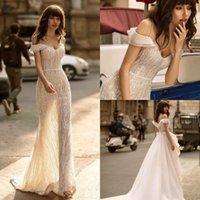 Berta 2022 Mermaid Wedding Dresses with Detachable Train Beading Sequins Bohemian Sweep Beach Gowns Sexy Spaghetti Dress