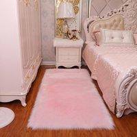 EUA estoque Tapetes Área Área Tapetes de pelúcia sala de estar quarto tapete peles imitação lã irregular cobertor lavável assento