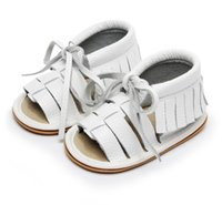 First Walkers HONGTEYA High Quality Toddler Moccasins Summer Genuine Leather Baby Shoes Lace Up Fringe Nonslip For 0-24M
