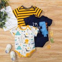 Né Baby Boy Girl Body Body Vêtements Été En Été Coton à manches courtes Rompes à manches courtes Toddler Vêtements Yellow Three-Pièce Costume 0-12m