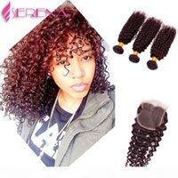 Funmi Cheveux Brésilien Vierge Vierge Bundles # 99J Pas cher Cheveux Humains Tissu 8-30 pouces Straight Body Wave De Profond Vague Vague Lâche Burly 6 Style