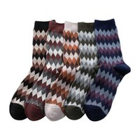 Mens Retro Rhombus Middle Tube Socks Fashion Trend Sports Stretch Business Socks Winter Male Casual Wave Mid Length Warm England Sock
