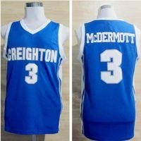 Mens Creighton Bluejays 대학 농구 유니폼 블루 # 3 Doug McDermott Shirts University Stitched Jerseys S-XXL