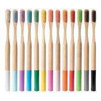 بيئيا الخشب قوس قزح فرشاة الأسنان بامبو فرشاة الأسنان الألياف مقبض خشبي فرشاة الأسنان تبييض GWB5953