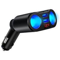 Bil cigarettändaruttag Splitterplugg för mobiltelefon MP3 DVR SUV Auto tillbehör med LED Dual USB-laddare Ports Adapter
