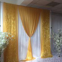 Décoration de mariage Rideau blanc de 3m H x3mw avec doré de soie glacée Swag Drape Trape Fête et décor d'événement